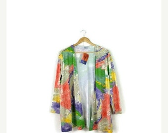 SUMMER SALE Vintage Colorful  Abstract Slouchy Cardigan from 80's*