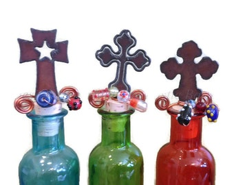 CROSS with Star Cross with Cuts or Chubby Cross Rusted Metal Decorative Wine Bottle Cork Stopper Topper