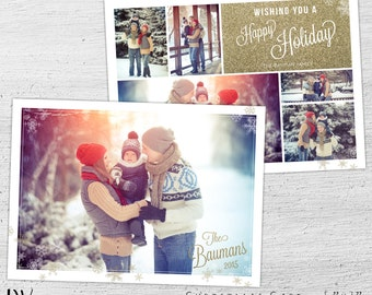 Christmas Photo Card, Photoshop Template, Holiday Photo Postcard, Christmas Cards, Photo Christmas Cards, Photographer, Gold, Glitter