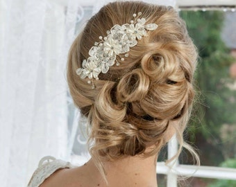 Lace and pearl bridal hair comb
