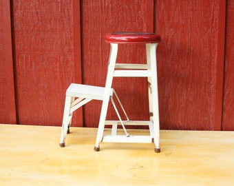 Vintage Red and White Metal Stool with Steps ~ Painted Metal Step Ladder ~ Fold Out Kitchen  Step Stool ~ Pull Out Step Stool