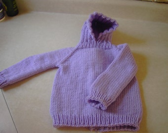 Hooded  Back Zip Baby Sweater Lilac 18-24 Mos.
