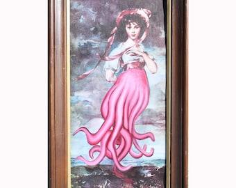 Thrift Store Art Repainted - ORIGINAL - Her Tentacles Suck You In!