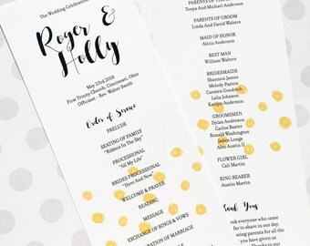 Printable Polka Dots Wedding Program - Yellow Wedding Order of Service -  Ceremony Program - ITOO15