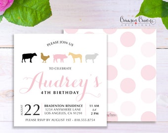 Farm Animals Child's Birthday Invitation - Baby, Toddler, Kid's Farmer Birthday Party Invite - Barn Party - Digital File