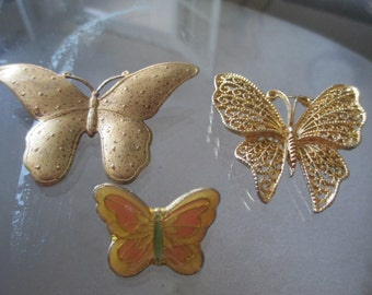 Lot of 3 Vintage Butterfly Pins / Brooches - Gold Butterfly Pin Insect Pin Brooch Bug Pin / 2 Large 1 Small Ornate