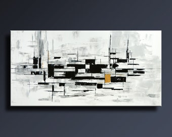 """48"""" Large Original ABSTRACT Painting on Canvas Contemporary Modern Art BLACK WHITE Gray Gold wall art Home decor- Unstretched-ABBW45"""