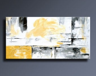 48 original abstract painting black white gray orange by for Tableau gris noir blanc
