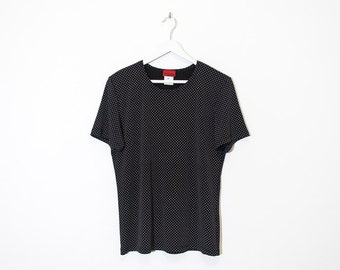 on sale - black polka dot stretchy t-shirt / textured short sleeve top / size M / L