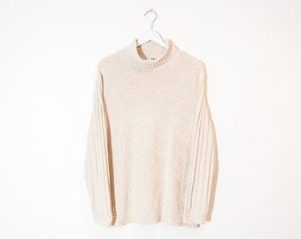 on sale - speckled beige turtleneck sweater / long sleeve textured knit pullover / size L