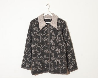 on sale - dark grey boiled wool jacket / embroidered button-up spring coat / size M