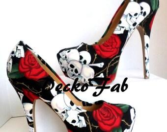 Roses and Skulls Fabric High Heels