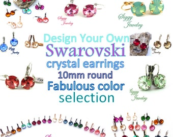 Crystal Earrings, 10mm Swarovski Round Rivoli, Made to Order, Lever Back Drops, Many Colors Available, Bridesmaids Gift, Wedding Jewelry,