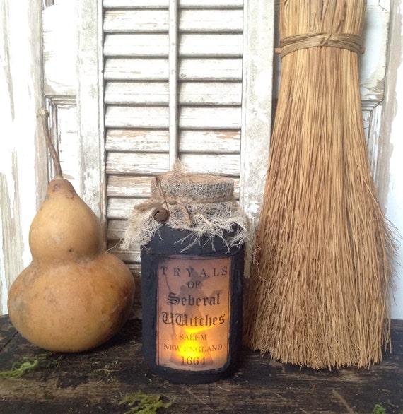 Primitive Folk Art Halloween Luminere Tryals of Seberal Witches Salem New England 1664  Halloween Fall Quantity 1