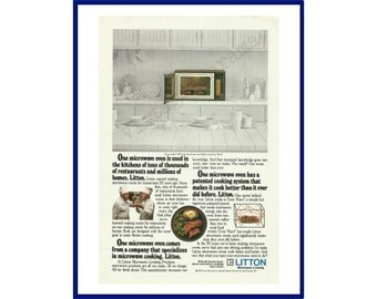 LITTON MICROWAVE OVEN Original 1982 Vintage Print Ad - Microwave in Color Contrasting with All-White Background