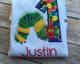 Hungry Caterpillar inspired Birthday Shirt/Onesie, and/or Bib Set