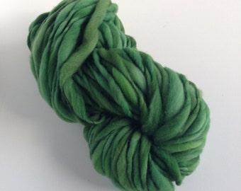 Handspun Thick and Thin Merino Yarn - 50 yds - Forest