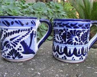 Blue and White Mexican Pottery Mugs Casa Juquila