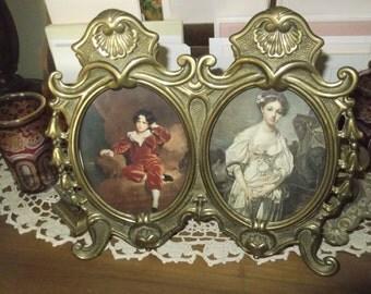 Art Nouveau  Brass Photo Frame , Brass Picture Frame Double Photo Frame