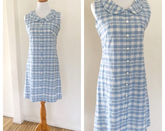 60s Gingham Dress - Peter Pan Collar  - Shift Dress