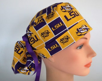 LSU Eye of the Tiger fabric Ponytail scrub hat - Womens lined surgical scrub cap, Nurse surgical cap, 58-3660 W