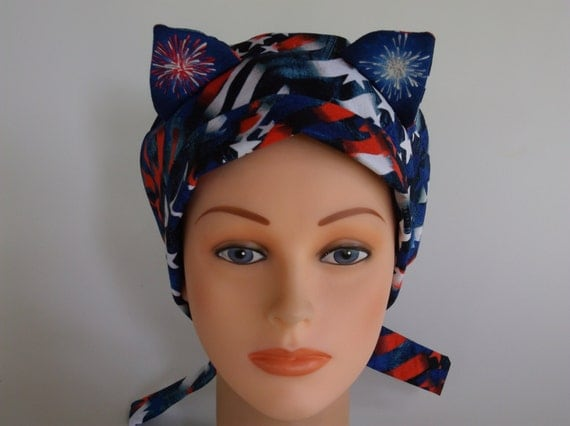 Usa Proud Cat Ears Lined Womens Surgical Scrub Cap Lined