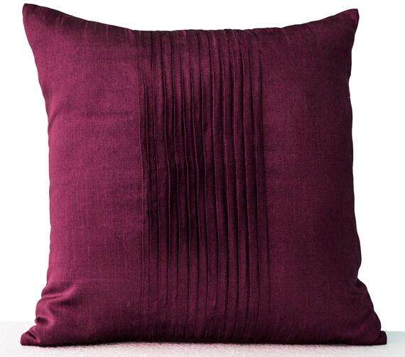 Purple Throw Pillow Cover Faux Silk Pleat Decorative Pillow