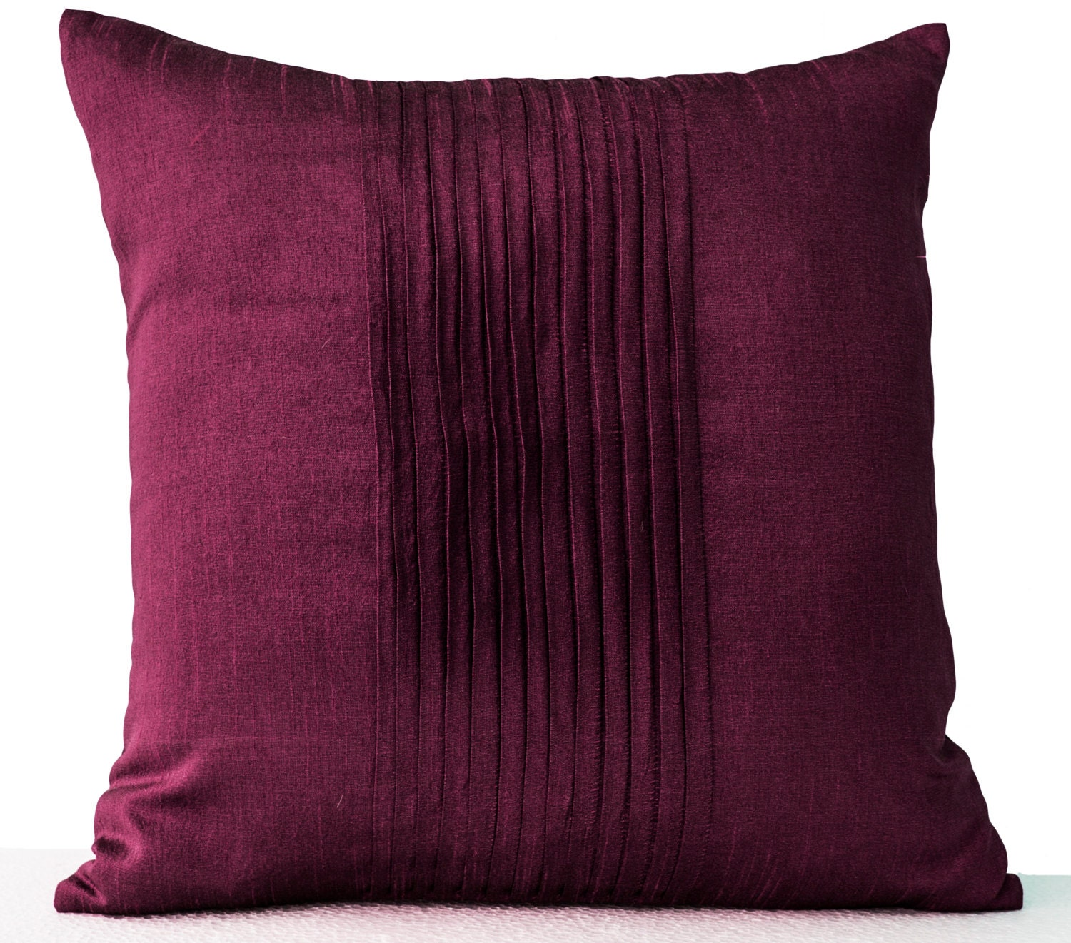 Throw Pillows With Covers : Purple Throw Pillow Cover Faux Silk Pleat Decorative Pillow