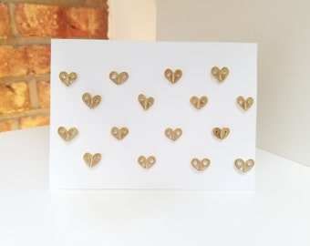"""SET OF 5 Quilling """"Gold Heart"""" Cards"""