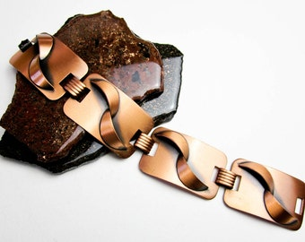 "50s Copper Bracelet, 1"" Wide, Renoir Design Vintage Modernism, Great Black Shadow Patina, Mad Men Bling, Atomic 50s USA."