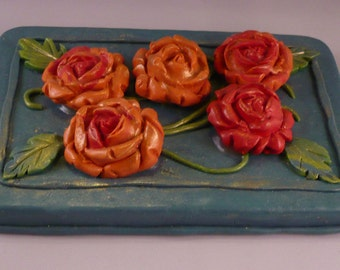 5 Roses Box - Polymer Clay over Metal Tin