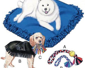Kwik Sew 3357, New Uncut  Pattern for New Sew Dog Bed, Yes it is no sew, Just tied fleece, Bed Jacket and Toy