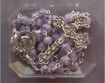 Sorrowful Mother - 6mm Purple Dragon Veins Glass Rosary