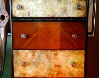 SOLD Custom Piece - Masculine Magellan Inspired Chest of Drawers, dresser, maps, industrial