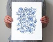 "Custom Colors, Floral Art, Modern, Screen Print, Blue, Pink, Red, Black, Orange, Hand Pulled, Eclectic Decor, 14""X11"" - ""Flower Arrangement"""