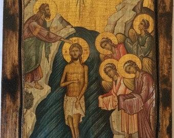 Jesus Christ - Baptism of Jesus Christ - Orthodox Byzantine icon on wood handmade (22.5cm x 17cm)