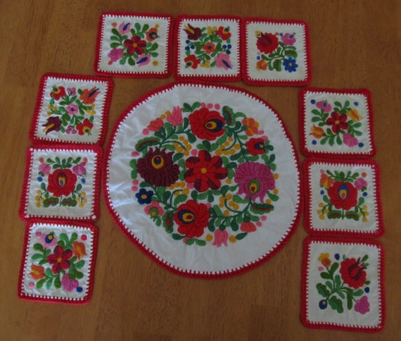 Mexican Embroidered Coaster Set Doily Embroidery Flowers