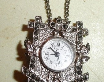 cuckoo clock pendant watch with marcasites