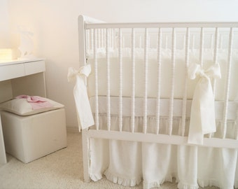 Linen Crib  bedding -  gathered skirt and 4 side bumper- Nursery bedding