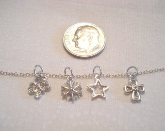 Vintage NECKLACE Sterling With Four Different Petite Charms For The Minimalist