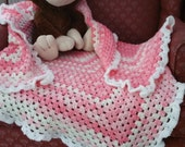 Pink And White Crochet Baby Blanket, Baby Shower Gift, Baby Girl, Baby Girl Gift, Pink & White, Lap Blanket, Wheel Chair Blanket