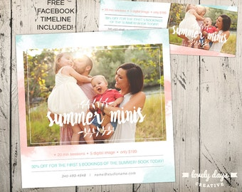 Summer Mini Session Template Square for Photographers INSTANT DOWNLOAD