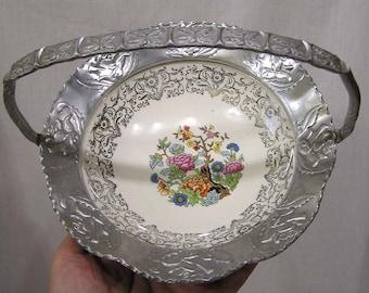 Vintage Farber and Shlevin Ceramic Bowl in Hammered Aluminum Basket Asian Floral