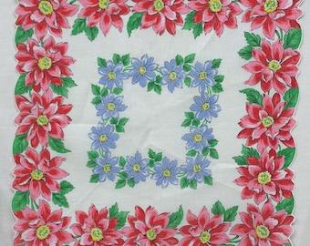 Vintage Floral Hankie Red Clematis Border Blue Clematis Inner Rectangle 1950s