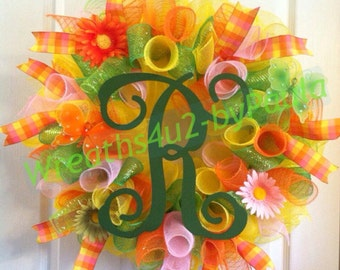 Summer Wreath/ Spring Monogram Wreath/ Summer Deco Mesh Wreath/ Summer Door Decor
