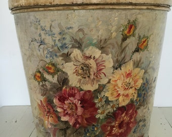 antique hand painted large box