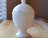 Vintage Milk Glass Candy Dish with Lid