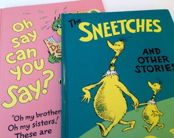 2 Hardback Books by Dr. Seuss - The Sneetches and Oh Say Can You Say?- 1989