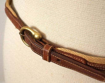 Vintage Skinny Canvas and Leather Belt with Brass Buckle Sz Small