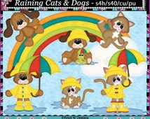 Raining Cats and Dogs - Commercial Use Digital Clip Art Set - INSTANT DOWNLOAD - Scrapbooking Craft Clipart Elements Graphics